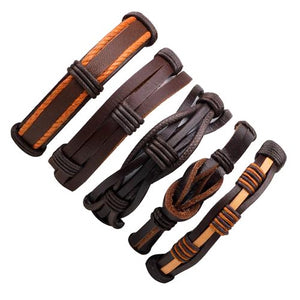 Classy Men Brown Leather Bracelet Set - Classy Men Collection