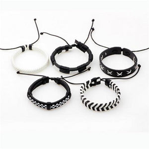 Classy Men White & Black Leather Bracelet Set
