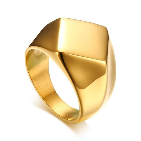 Classy Men Minimalist Signet Ring Gold - Classy Men Collection