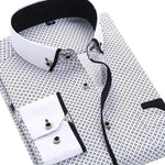 Casual White/Black Dress Shirt | Slim Fit | Sizes 38-45 - Classy Men Collection