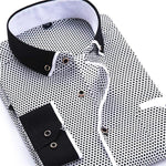 Casual Black/White Dress Shirt | Slim Fit | Sizes 38-45 - Classy Men Collection