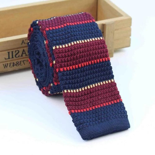 Classy Men Navy Blue Wine Red Square Knit Tie