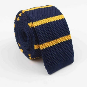 Classy Men Blue Yellow Striped Square Knit Tie