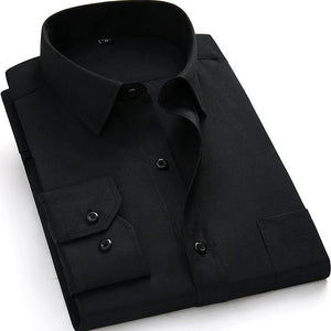 Basic Black Dress Shirt | Modern Fit | Sizes 38-48 - Classy Men Collection