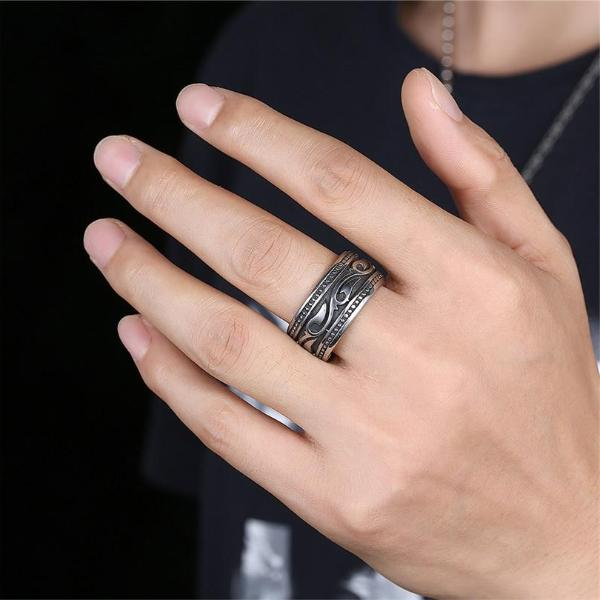 Classy Men Large Steel Tribal Ring - Classy Men Collection