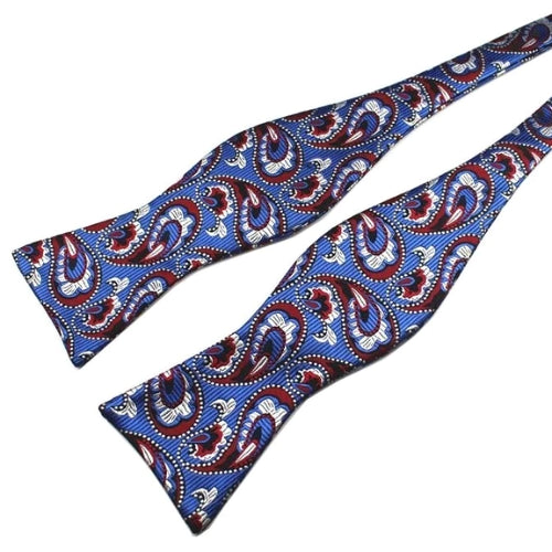 Classy Men Blue Pattern Silk Self-Tie Bow Tie - Classy Men Collection