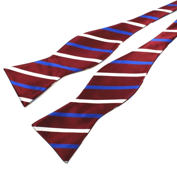 Classy Men Wine Striped Silk Self-Tie Bow Tie