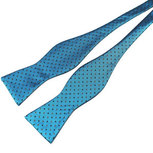 Classy Men Teal Dotted Silk Self-Tie Bow Tie