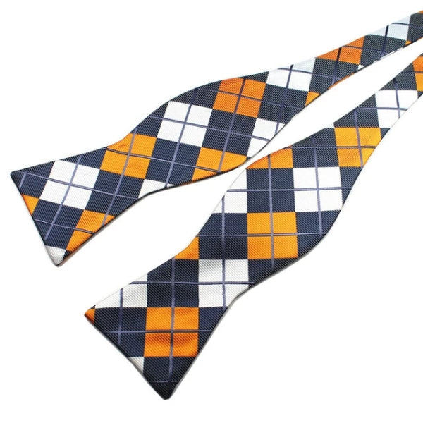 Classy Men Multi Checkered Silk Self-Tie Bow Tie