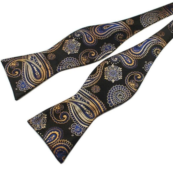 Classy Men Black Pattern Silk Self-Tie Bow Tie - Classy Men Collection