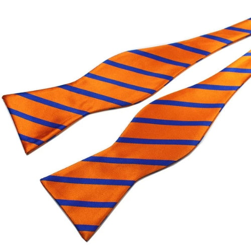 Classy Men Orange Blue Silk Self-Tie Bow Tie