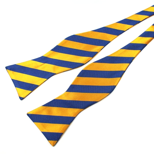 Classy Men Blue Yellow Silk Self-Tie Bow Tie - Classy Men Collection