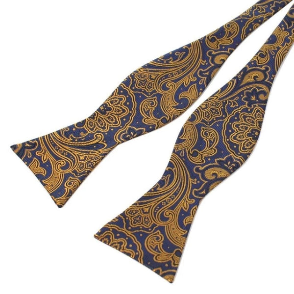 Classy Men Yellow Blue Silk Self-Tie Bow Tie
