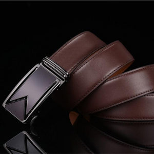 Classy Men Dark Brown Leather Dress Belt - Classy Men Collection