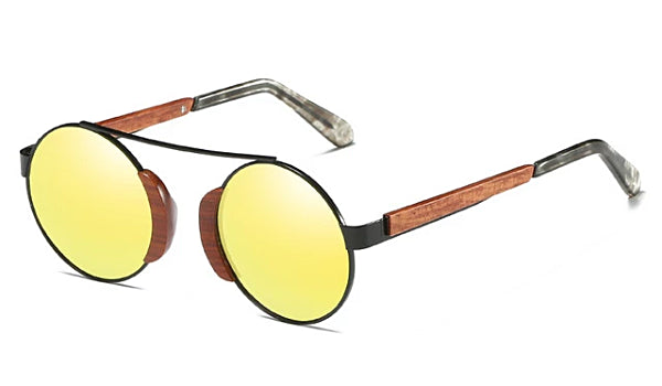 Classy Men Gold Round Wood Sunglasses - Classy Men Collection