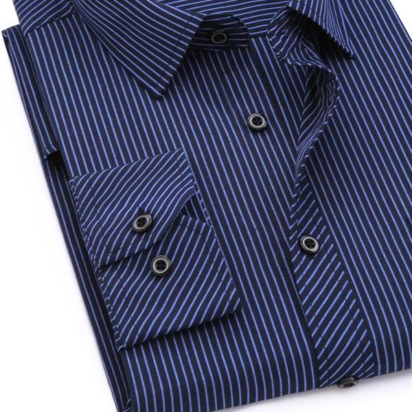 Navy Blue Fine Striped Dress Shirt | Modern Fit | Sizes 38-48