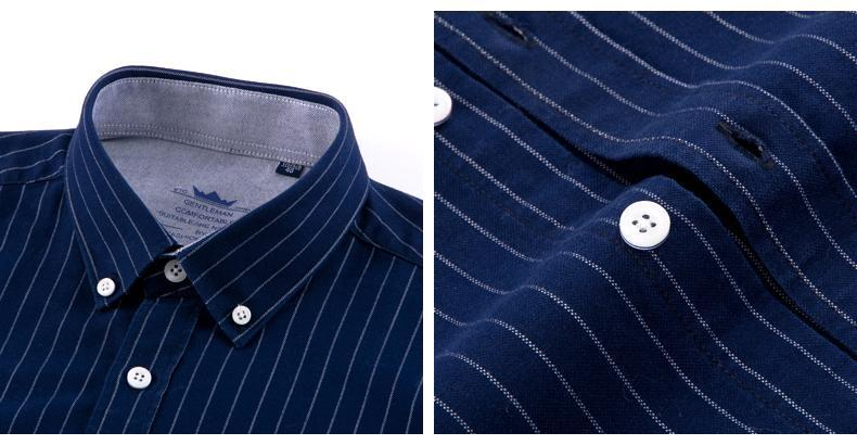 Navy Blue Striped Oxford Dress Shirt | Regular Fit | Sizes 38-44