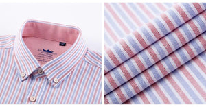 Blue/Pink Striped Oxford Dress Shirt | Regular Fit | Sizes 38-44 - Classy Men Collection