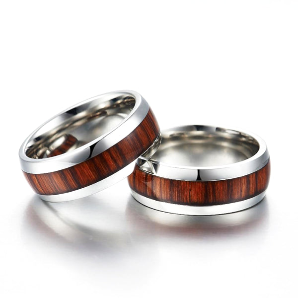 Classy Men Silver Wood Inlay Ring