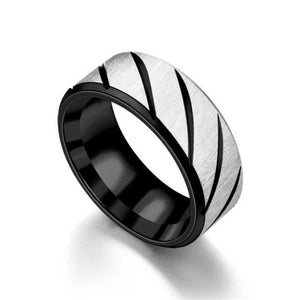 Classy Men Black Striped Stainless Steel Ring - Classy Men Collection