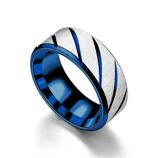 Classy Men Blue Striped Stainless Steel Ring - Classy Men Collection