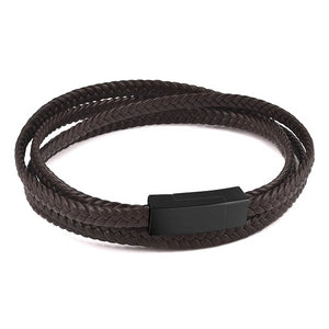 Classy Men Brown Multi-Layer Braided Leather Bracelet