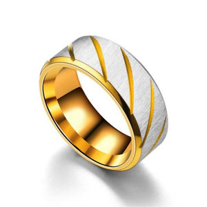 Classy Men Gold Striped Stainless Steel Ring - Classy Men Collection