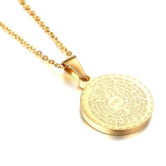 The backside of the pendant features the Lords Prayer