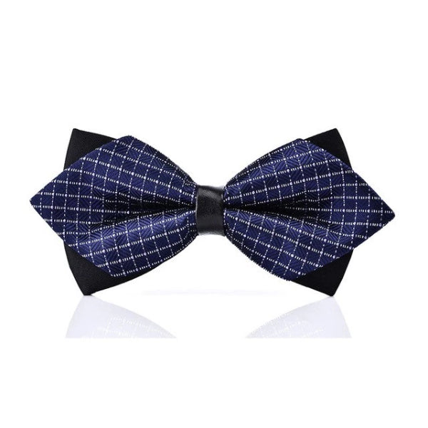 Classy Men Blue Squared Pre-Tied Diamond Bow Tie - Classy Men Collection