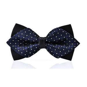 Classy Men Blue Dotted Pre-Tied Diamond Bow Tie - Classy Men Collection