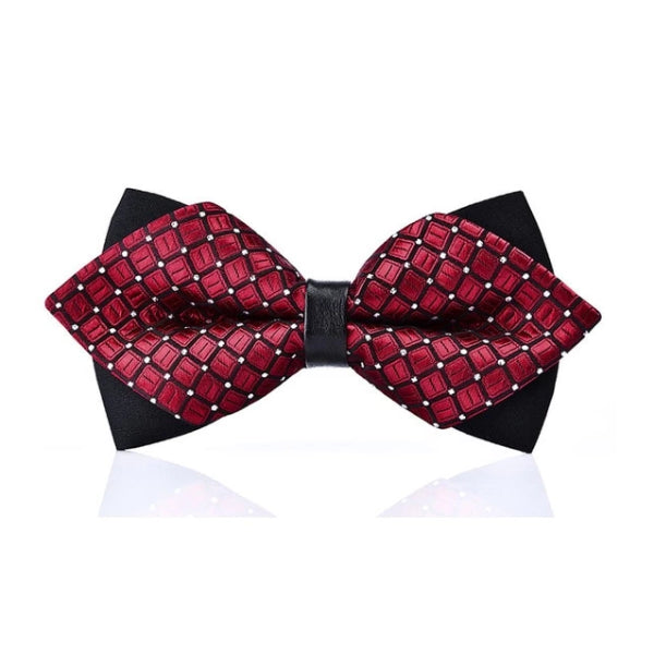 Classy Men Red Dotted Pre-Tied Diamond Bow Tie