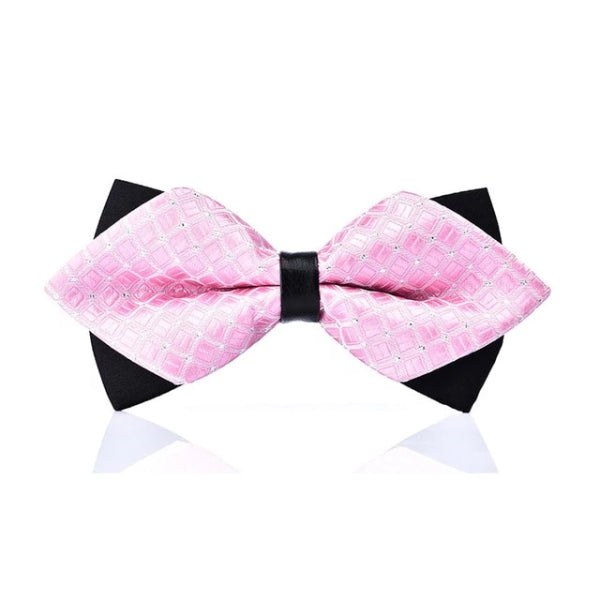 Classy Men Light Pink Pre-Tied Diamond Bow Tie