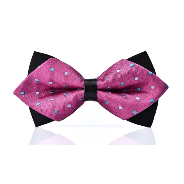 Classy Men Pink Dotted Pre-Tied Diamond Bow Tie