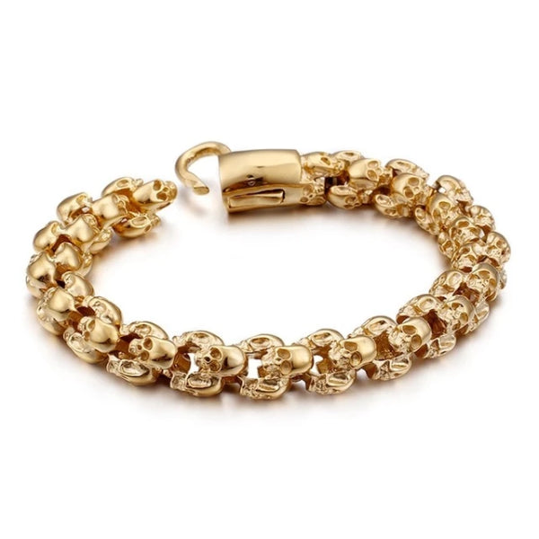 Classy Men Gold Stainless Steel Skull Chain Bracelet
