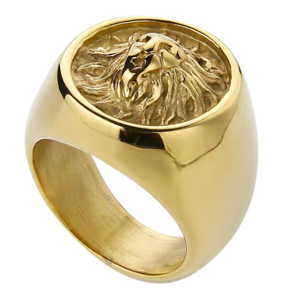 Classy Men Lion Signet Ring Gold - Classy Men Collection