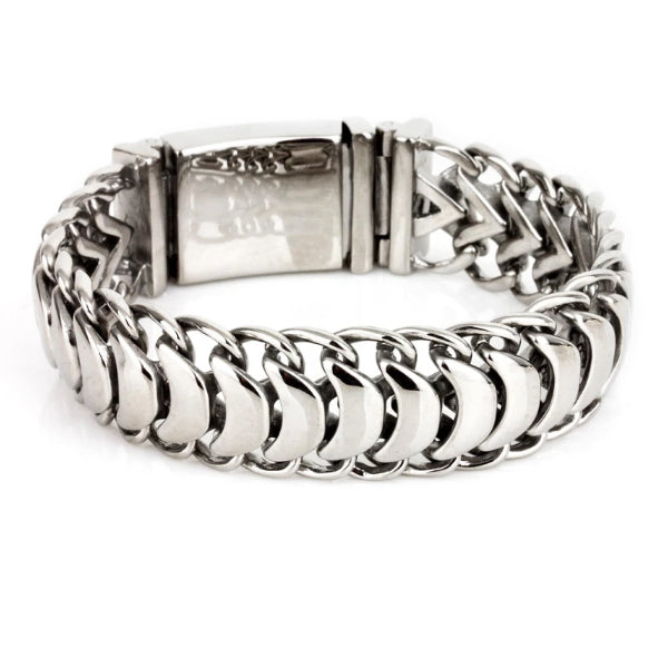 Classy Men Polished Stainless Steel Link Chain Bracelet