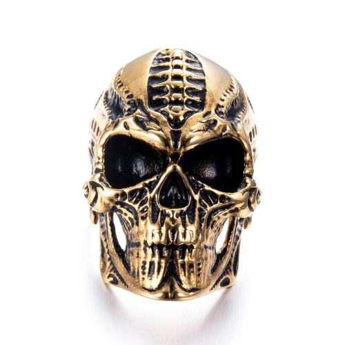 Classy Men Large Skull Ring Gold - Classy Men Collection