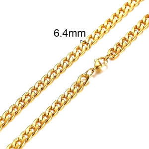 Classy Men 6.4mm Gold Curb Chain Necklace