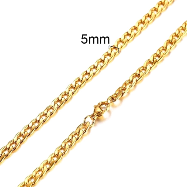 Classy Men 5mm Gold Curb Chain Necklace