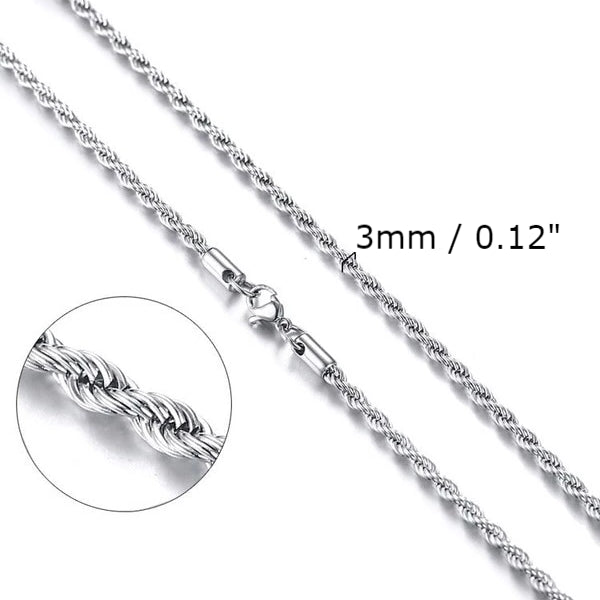 Classy Men 3mm Twisted Silver Rope Chain Necklace