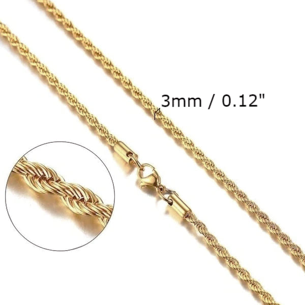 Classy Men 3mm Twisted Gold Rope Chain Necklace