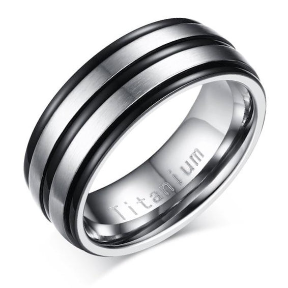 Classy Men Black & Silver Channeled Titanium Ring - Classy Men Collection