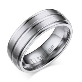 Classy Men Silver Channeled Titanium Ring