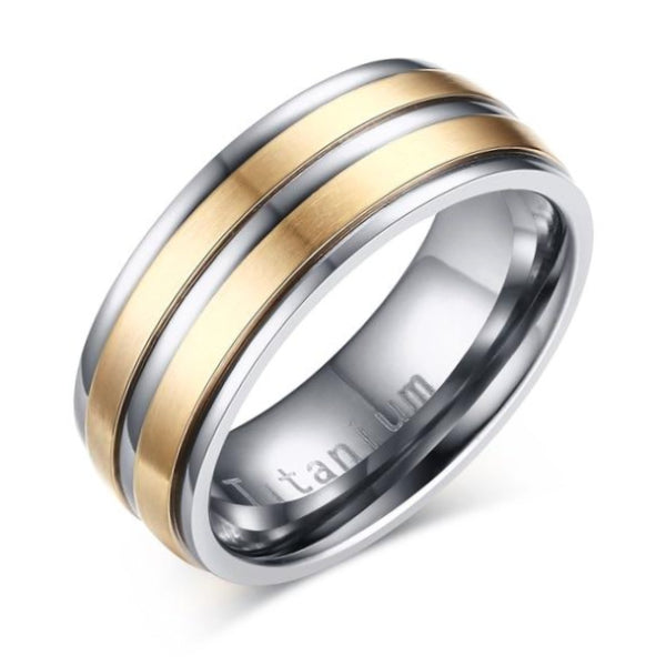 Classy Men Silver & Gold Channeled Titanium Ring