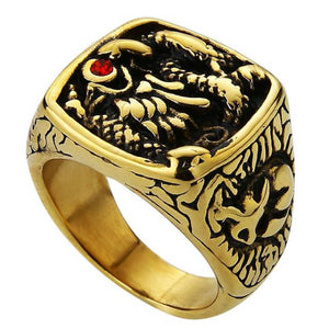 Classy Men Dragon Signet Ring Gold - Classy Men Collection