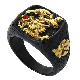 Classy Men Dragon Signet Ring Black & Gold - Classy Men Collection
