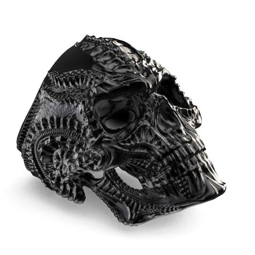 Classy Men Large Skull Ring Black - Classy Men Collection