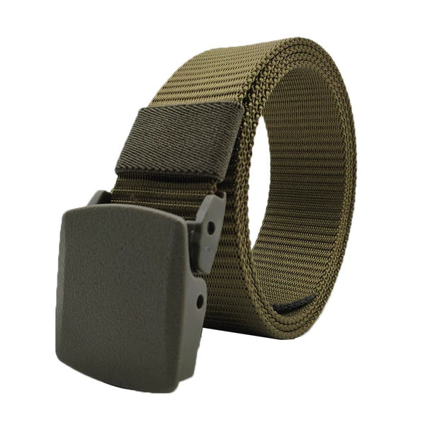 Classy Men Army Green Web Belt With Plastic Buckle - Classy Men Collection