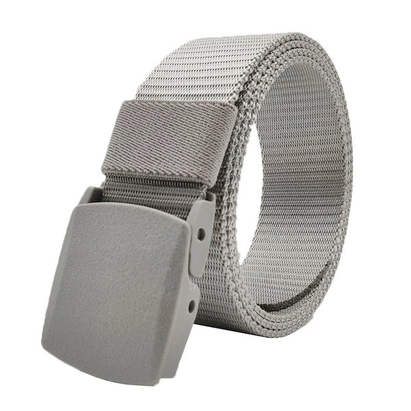 Classy Men Grey Web Belt With Plastic Buckle - Classy Men Collection