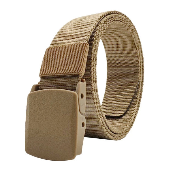 Classy Men Camel Web Belt With Plastic Buckle - Classy Men Collection